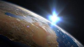 Восход солнца земли над Саудовской Аравией иллюстрация штока