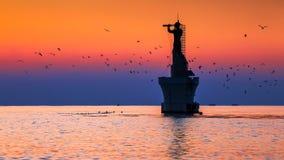 Восход солнца и lighthouese стоковое изображение rf