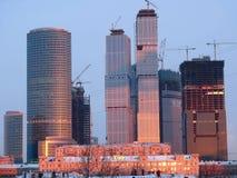 восход солнца конструкции здания вниз Стоковая Фотография RF
