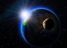 восход солнца космоса Стоковые Фотографии RF