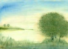 Восход солнца ландшафта акварели на озере иллюстрация вектора