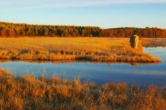 восход солнца ландшафта озера злаковика Стоковая Фотография RF