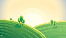 Восход солнца ландшафта утра сельский над холмами бесплатная иллюстрация