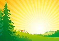 восход солнца ландшафта иллюстрация вектора