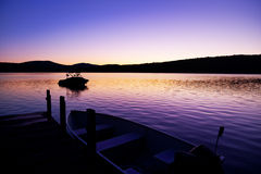 восход солнца лета озера Стоковая Фотография RF