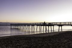 Восход солнца молы Торки, залив Hervey, QLD Стоковые Изображения RF