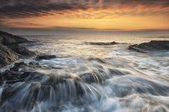 Восход солнца моря, около Rezovo, Burgas, Болгария Стоковые Фотографии RF