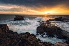 Восход солнца моря, около Tyulenovo, Болгария Стоковая Фотография