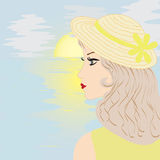 восход солнца моря шлема девушки Стоковые Изображения