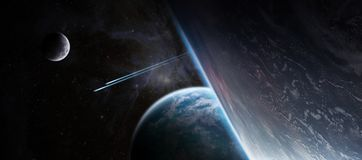 Восход солнца над дистантной системой планеты в элементе перевода космоса 3D иллюстрация вектора