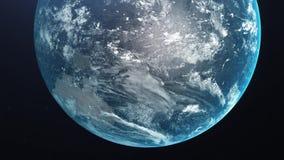 Восход солнца над землей Изумляя взгляд земли планеты от космоса HD иллюстрация вектора