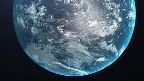 Восход солнца над землей Изумляя взгляд земли планеты от космоса HD иллюстрация штока