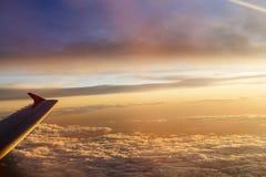Восход солнца над крылом Стоковые Фотографии RF