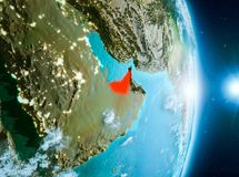Восход солнца над Объединенными эмиратами на земле планеты Стоковые Фото