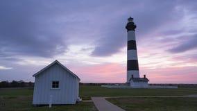 Восход солнца над океаном за островом Lighhouse OBX Bodie стоковая фотография