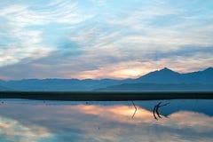 Восход солнца над частично погруженными в воду мертвыми ветвями дерева в озере Isabella в горах сьерра-невады в центральной Калиф Стоковое Изображение