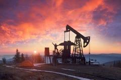 восход солнца насоса масла Стоковые Фотографии RF