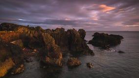 Восход солнца на гавани Dunbar в Шотландии стоковое изображение rf