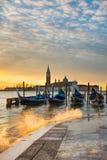 Восход солнца на грандиозном канале в Венеции, Италии Стоковое фото RF