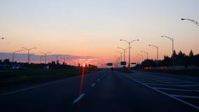 Восход солнца на дороге стоковые фотографии rf