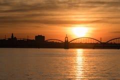 Восход солнца на Миссиссипи стоковые изображения rf