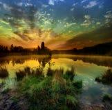 Восход солнца на озере Стоковая Фотография RF