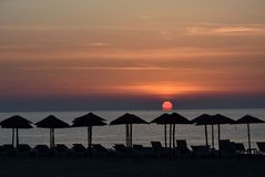 Восход солнца на пляже в Katerini, Греции Стоковые Фотографии RF