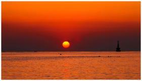 Восход солнца на пляже Haeundae стоковое изображение