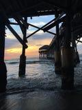 Восход солнца на пристани пляжа какао Стоковая Фотография RF