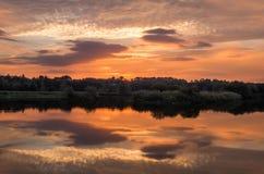 Восход солнца на пруде стоковое изображение rf