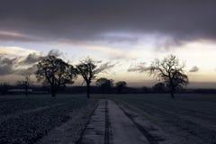 Восход солнца на сельской местности Стаффордшира на утре зимы стоковое изображение