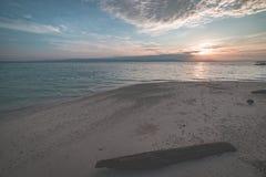 Восход солнца на тропическом пляже, широкоформатный взгляд в backlight от песчаного пляжа коралла с стволом дерева, тонизированно Стоковые Изображения