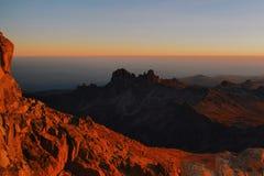 Восход солнца на Mount Kenya стоковое фото