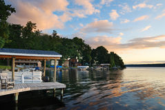 восход солнца озера дома Стоковое Изображение RF
