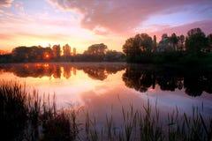 восход солнца озера hdr Стоковое Фото