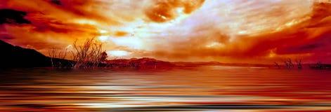 восход солнца озера mono Стоковое фото RF