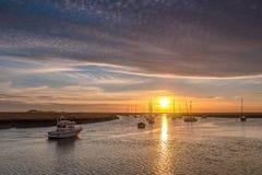 Восход солнца от набережной Норфолка Wells Стоковая Фотография RF