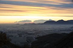 Восход солнца от холмов Berici Стоковые Изображения