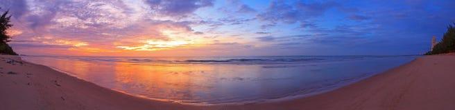 Восход солнца панорамы на море стоковое фото rf