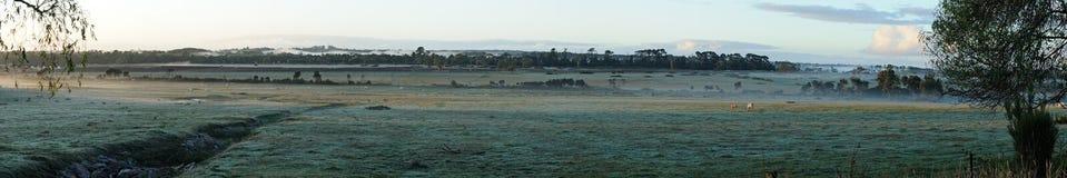 восход солнца панорамы тумана стоковое изображение