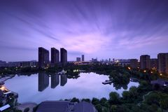 Восход солнца парка и озера Стоковые Изображения RF
