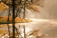восход солнца парка осени Стоковые Изображения RF