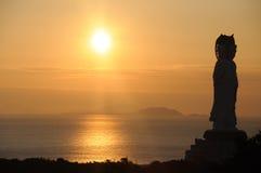 восход солнца положения моря guanyin Стоковое Изображение RF