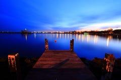 восход солнца пристани Индонесии Стоковая Фотография RF