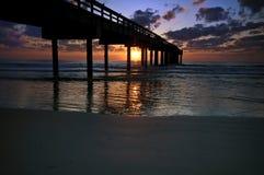 восход солнца пристани рыболовства Стоковое Изображение RF