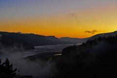 восход солнца реки gorge clolumbia Стоковые Изображения RF