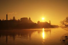 Восход солнца рекой Стоковые Фото