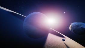 Восход солнца Сатурна планеты Стоковое Фото