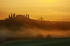 восход солнца Тоскана ландшафта Стоковое Фото