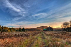 восход солнца фермы страны Стоковое фото RF